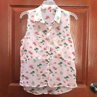 Pink sheer summer sleeveless top
