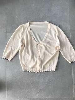 米白色外套cardigan