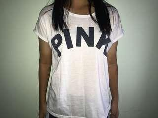 "white shirt with "" pink """