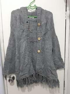 Knitted Hooded long jacket
