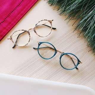 [89% off] European Vintage Skinny Glasses Spectacles | Ocean Teal, Marble Cream | Made in South Korea