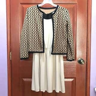 Casual brown dress with matching jacket