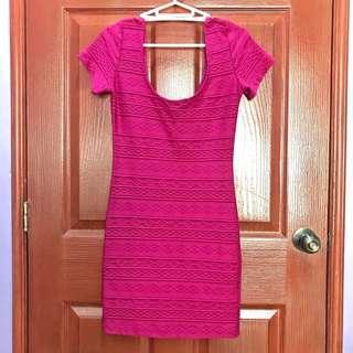 Magenta body fitting dress