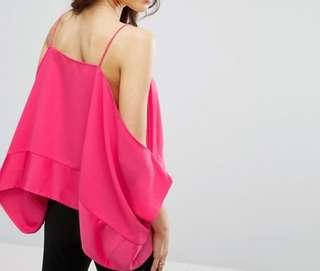 Shocking pink cold shoulder top