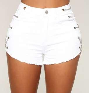 Fashion Nova Chained Denim Shorts