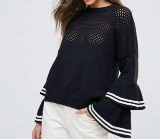 Bell sleeve top with frill detail
