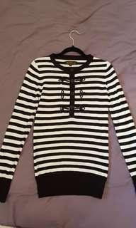 Ben Sherman womens jumper black and white striped mod XS vgc