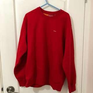 Supreme small box red x orange contrast crewneck