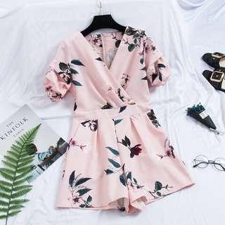 BN Floral Romper Ruffle Short Sleeve