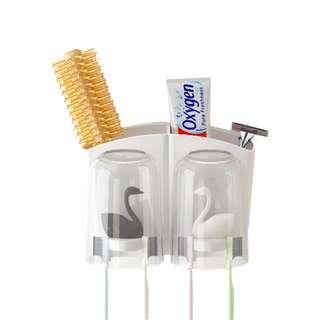 無痕貼 掛牙刷架 & 漱口杯 ( 不連牙刷 ) 天鵝款