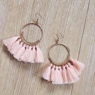 (New) Pink Bohemian Tassel Earring