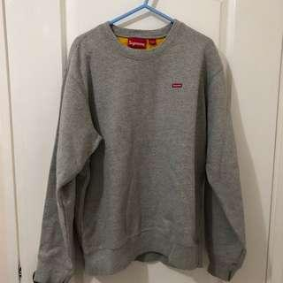 Supreme small box grey x yellow contrast crewneck
