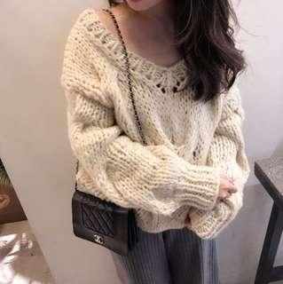 正韓 Handmade麻花v領粗針織毛衣
