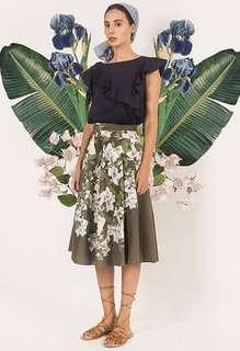 Plains and prints x Vania Romoff very beautiful, limited edition marianna floral skirt • green a line dress skirt • almost new