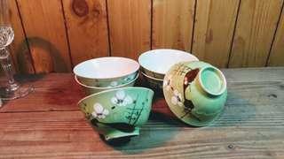 手繪梅花紋綠釉陶瓷碗—古物舊貨、早期碗盤相關收藏