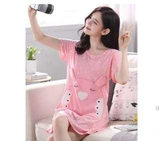 🚚 Cute Pyjamas home night dress pink casuals *READY STOCK*
