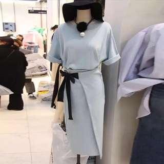 韓國淺藍色長身裙