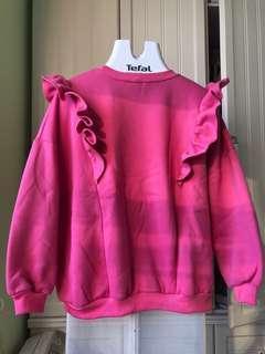 毛毛底粉紅色荷葉邊衛衣