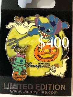 Disney Pin 迪士尼徽章襟章 Stitch 史迪仔 金仔 萬聖節