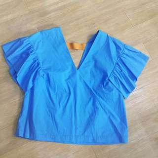 H&M Flutted Sleeves Top