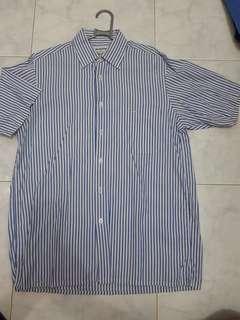 kemeja piere cardin size 15  blue stripe