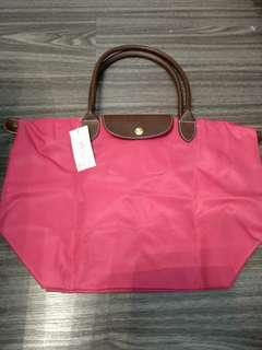 BN Sweet Hot Pink Color Foldable Nylon Tote Bag