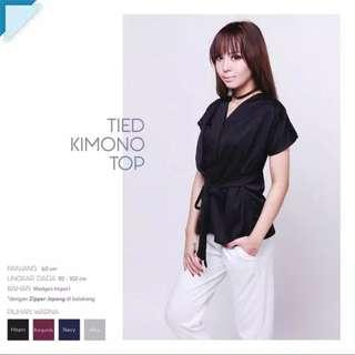 Black - Hitam - Tied Kimono Top Blouse V-neck Rampel Front