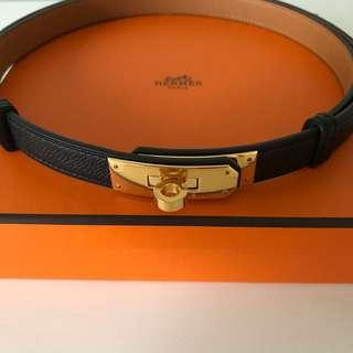 Hermes Black Kelly Belt