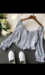 🚚 Sweet and sexy pastel blue top blouse *New*