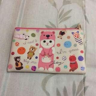 Brand New Cat Bear Pink and Cream Waterproof Case with Zip