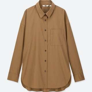 Uniqlo Extra Fine Cotton Long Sleeve Shirt in Brown
