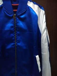 Blue white bomber jacket
