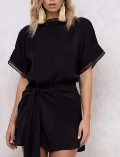 Black wrap shimmer dress