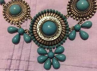 Turquoise & Silver Collar Necklace