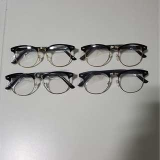 33b6b3fe11 Clubmaster Black Brown with Gold Silver Rim Spectacle Frame Eyewear Glasses  Clear Lens