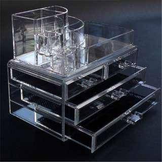 Cosmetic 4 Drawer Makeup Organizer Storage Jewellery Box Clear Acrylic Holder