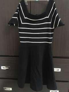 🚚 黑白條紋短袖寬肩洋裝