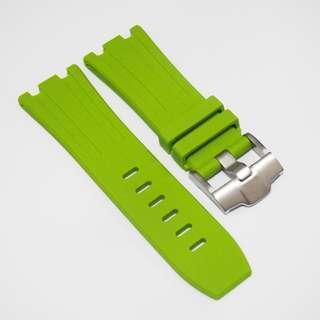 全新 28mm Audemars Piguet (AP) 專用青綠色橡膠代用錶帶配精鋼針扣