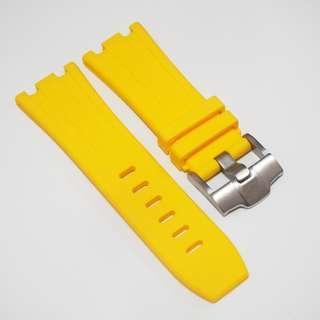 全新 28mm Audemars Piguet (AP) 專用黃色橡膠代用錶帶配精鋼針扣