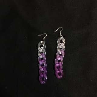 🚚 螺旋耳環 透明 紫色