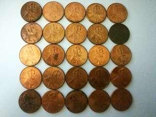 Coins US 1 cent lincoln shield 25pcs