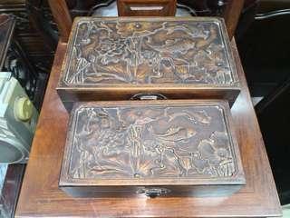 古董老料黃花梨母子盒一對