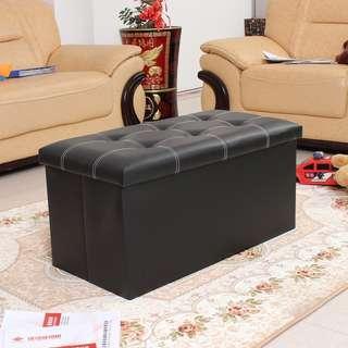 Large pu leather black storage box/stools foldable