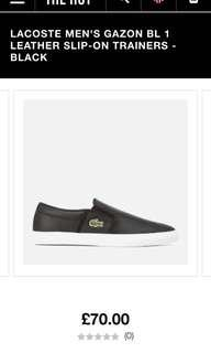 LACOSTE MEN'S GAZON BL 1 LEATHER SLIP-ON TRAINERS - BLACK