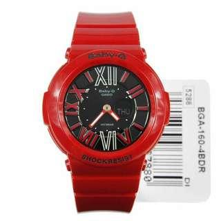 AUTHENTIC Casio Baby-G Analog-Digital Women's Red Resin Strap Watch BGA-160-4BDR
