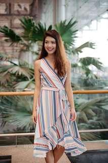 Candyce stripes wrap dress in multi