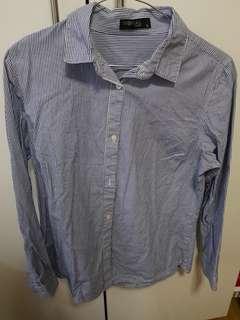 SM Woman Blue Pinstripes long-sleeved polo