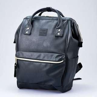 Anello Black Leather Backpack / Bag