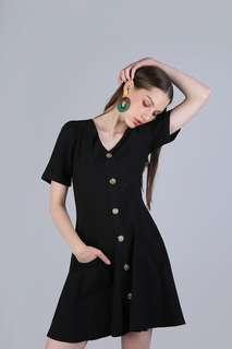 LEYTON BUTTON SLEEVED DRESS (BLACK)