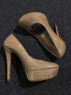 Gold shimmer stilettos